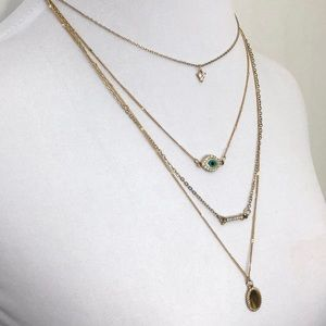 American Eagle Layered Evil Eye Necklace